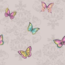 Butterfly Damask Glitter Wallpaper Leaves Sparkle Butterflies Grey Holden Decor