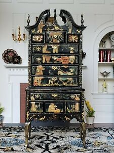 Dollhouse Miniature Artisan Jean Strup Chinoserie Highboy Signed 1:12