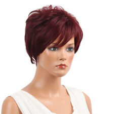 Fashion Women Short Layered Straight Real Human Hair Full Wigs Wine Red