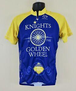 PRIMAL CYCLING NWT Mens Sz Large Blue Yellow Knights Golden Wheel Raglan Jersey