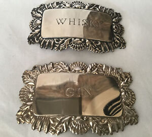 TWO VINTAGE SILVER PLATED DECANTER LABELS - WHISKY & GIN (NO CHAINS)