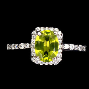 Unheated Oval Peridot 8x6mm Cz 14K White Gold Plate 925 Sterling Silver Ring 9.5