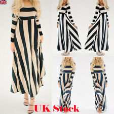 UK Women Winter Stripe Long Sleeve Party Cocktail Evening Ladies Long Maxi Dress