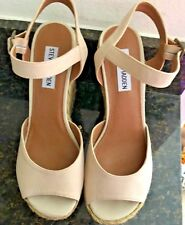 "Steve Madden Ladies suede and burlap sandal, 5"" platform wedge w/ankle strap 8M"