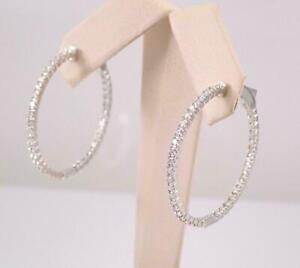 1.10Ct Round Cut D/VVS1 Diamond In And Out Hoop Earrings 14K White Gold Finish