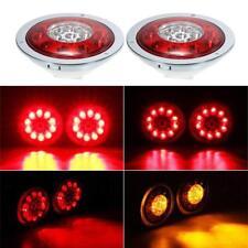 "2X 4.3"" LED Tail Lights Turn Signal Brake Lamp Indicator Red+Amber Truck Trailer"