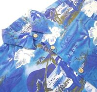 Pacific Scene Men Large Hawaiian Shirt Blue Floral Short Sleeve Button Front *2O