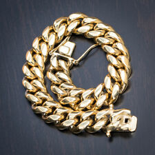 Top Quality Stainless Steel Mens Miami Thick Heavy Gold Cuban Link Curb Bracelet
