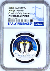 2018 TUVALU Always Together Penguin Couple Silver Proof NGC PF 70 1/2oz Coin