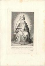Stampa antica MADONNA CON IN BRACCIO GESU' religione 1860 Old antique Print
