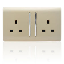 Trendi 2 Gang Artistic Modern Glossy 13 Amp Long Switched Plug Socket Skt213l Gold