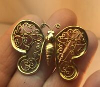 Vtg BEAUTIFUL! 12kt GE Plated Filigree Hearts Butterfly Pin Brooch