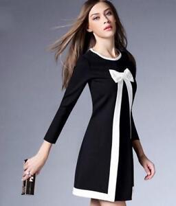 Elegant Womens Long Sleeve Bowknot Sweet Mini Skirt Dress Slim Fit Casual