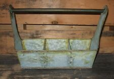 Green Galvanized Tote Tool Box Basket*French Country/Primitive Garden Room Decor
