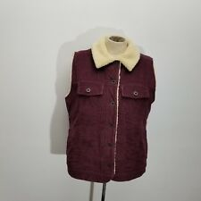 LL Bean Womens Vest Jacket Sz S Corduroy Sherpa Lined Button Up Pockets