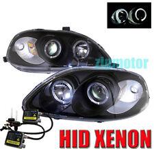 99 00 HONDA CIVIC HALO PROJECTOR HEADLIGHTS+HID 6000K LAMP JDM BLACK GX HX LX SI
