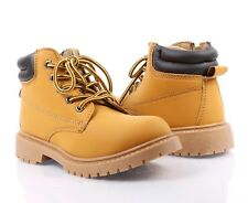 TAN COLOR MILITARY COMBAT STYLE GIRLS LACE UP KIDS ANKLE BOOTS YOUTH SIZE 12