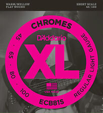 D'ADDARIO ECB81S CHROMES FLAT WOUND BASS STRINGS, SHORT SCALE, LIGHT 4's - 45-10