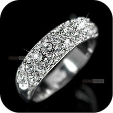 18k white gold gp made with swarovski crystal wedding bridal ring US 6 UK AU M