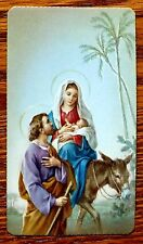 ANTIQUE SERIE MIRA HOLY CARD MARY & BABY JESUS ON DONKEY: THE ESCAPE IN EGYPT
