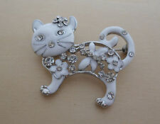 White Enamel and Clear Crystal Cat, Kitten Brooch