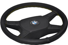 FOR BMW E30 82-91 TOP QUALITY REAL LEATHER STEERING WHEEL COVER YELLOW STITCHING