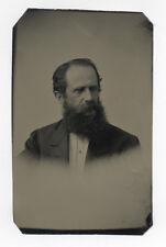 MAN W/ BEARD #D 1870's TINTYPE PHOTO, PROBABLY SAMUEL W. WOODHOUSE RELATIVE