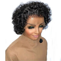 8A Brazilian Hair 13X6 Lace Front Short Curly Wigs Pre Plucked Baby Hair 8inch