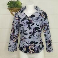 Anthropologie Odille Lavender Floral Velvet Jacket Size 6 Portrait Collar