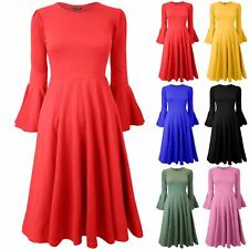 Womens Ladies Peplum Frill Long Bell Sleeve Flared Swing Skater Midi Dress 8-18