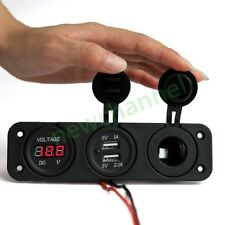 Waterproof Dual Port USB Charger Socket Power Voltmeter Motorcycle Car Boat GPS