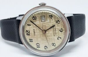 Vintage Timex Viscount Automatic Mens Watch Genuine KARUNG SNAKE Band RUNS GREAT