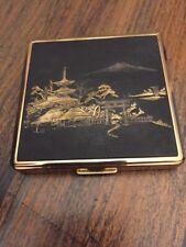 """vintage """"New Light"""" damascene Mt Fuji Japanese scene gold makeup compact"""