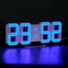 Blue LED Digit Large 3D Table Wall Clock Dimmer Alarm Snooze Home Decor USB DC