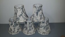 "LOT OF 5 Toile  Chandelier Mini Lamp Shades Hardback 6""Wx5-1/4H"""