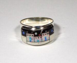 Multicolor Pueblo Inlay 925 Sterling Silver Men's, Woman Band Ring Size 8.5 - 11