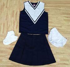 "New Adult S Navy Blue Cheerleader Uniform Top Skirt Brief  30-33/25-26"" Cosplay"