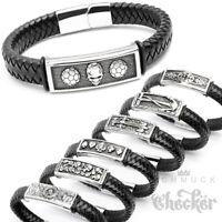 Herren Lederarmband schwarz Edelstahl Schildarmband Bikerarmband Harley Armband