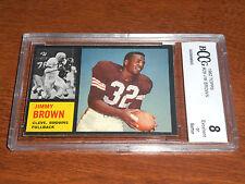 Jim Brown GRADED CARD!! Beckett BCCG 8!! 1962 Topps #28 Browns HOFer!!
