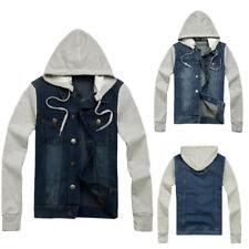 Mens Denim Hooded Button Down Jean Jacket Casual Hoodie Coat Top Outwear Shirt