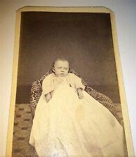 Old Antique Victorian American Pouting Child, White Fashion Dress! PA CDV Photo!