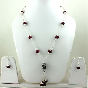 NECKLACE EARRINGS NATURAL FINE FACETED RUBY GEMSTONE HANDMADE BEADED JEWELRY