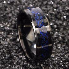 8/6mm Tungsten Carbide Ring Black Celtic Dragon Blue carbon fibre Mens Jewelry