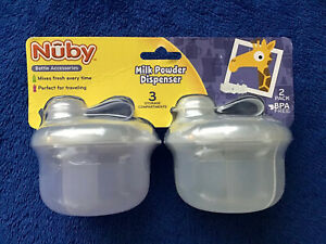 2-Pack Nuby Baby Infant Formula Powder Dispenser 3 Compartments ea BPA-Free NEW