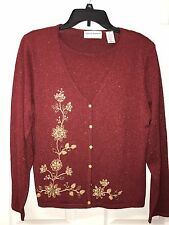 Alfred Dunner PXL NWT  Red With Gold Pullover Sweater Embellished Floral Detail