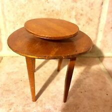MINIATURE Dollhouse ROUND Wooden TABLE w/ LAZY SUSAN ATTACHED