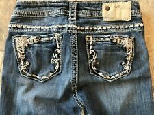 Silver Jeans Tuesday Mid Straight Leg 26 x 34 Leg Denim Hemmed Stretch Womans