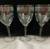 """Vintage Clear Glass Stem Wine Glasses with Etched Polka Dots and Lines 7-1/2"""""""