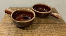 Set of 2 McCoy #7050 Brown Drip Glaze Handled Soup / Chili Bowls Good Condition