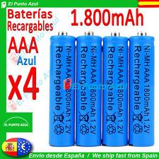 4 Pilas AAA Recargables ★ 1800mAh ★ Alta Capacidad - 1,2 voltios ★ AZUL BLUE